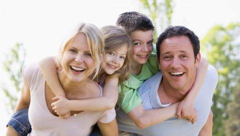 семья, мальчик, девочка, мама, папа