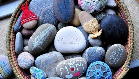 краски, цветные, камни