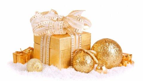 подарок, коробка, золото, игрушки, воздушные шары, новый год,белый фон