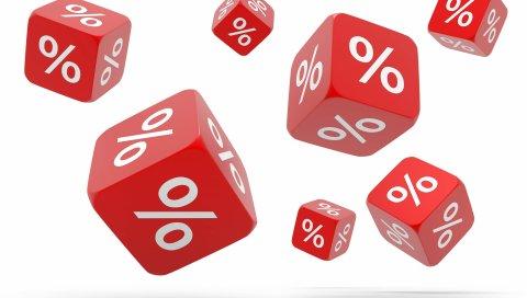 кубики, проценты, кости, белый фон, кредитный
