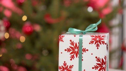 коробка, лента, лента, подарок, новый год