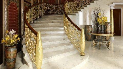 интерьер, лестницы, перила, двери, вазы, цветы, дизайн
