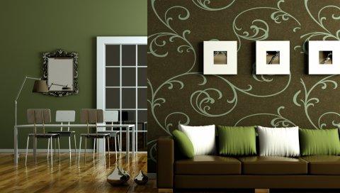зеленый, плоские, коричневые, интерьер, стиль, дизайн