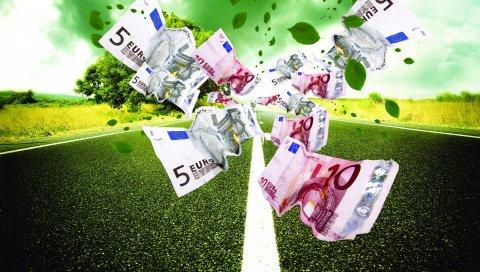 дорога, шторм, евро, банкноты