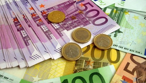 деньги, евро, банкноты, монеты