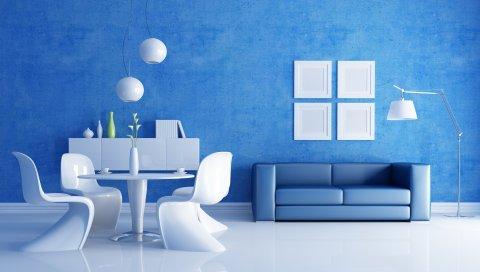 гостиной, мебель, например, голубые тона,обои