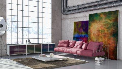 гостиная, искусство, бетон, мебель, трубы