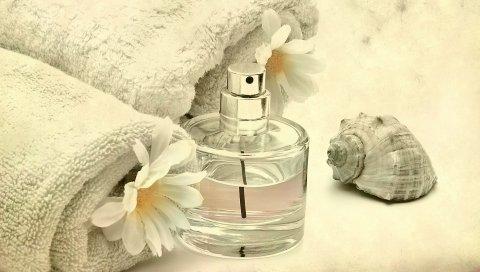 вода, духи, бутылки, цветы