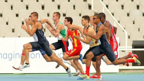 спортсмен, бегуны, скорость
