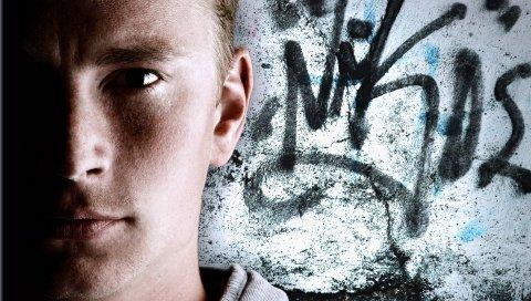 мальчика, стена, лицо, граффити
