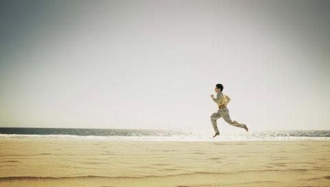 человек, берег, море, бег, пляж