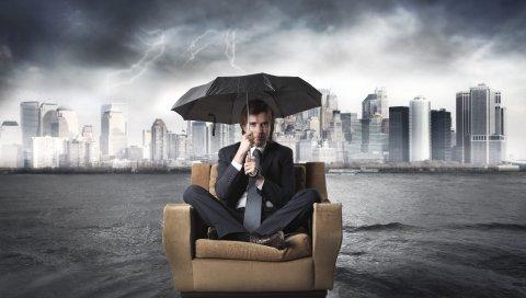 бизнесмен, стул, наводнение, зонтик, река, шторм, город