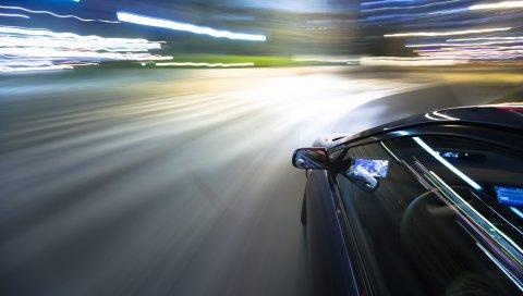 поворот, автомобиль, движение размытие, ночь