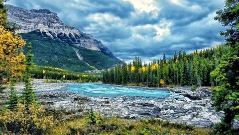 Горы, река, лес, облака, пейзаж