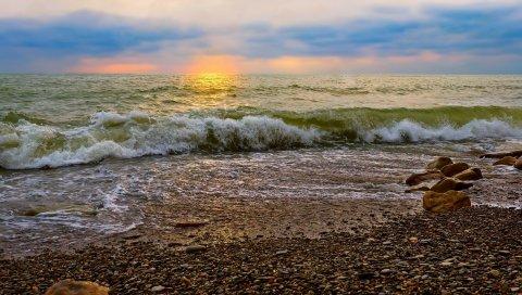 Камни, море, берег, серфинг