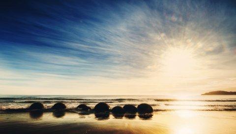 Новая Зеландия, океан, восход солнца, скалы