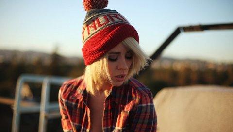 Шляпа, модель, стиль, рубашка, девушка, фотосессия