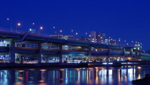 Ночь, город, фукуока, дорога, скорость, огни