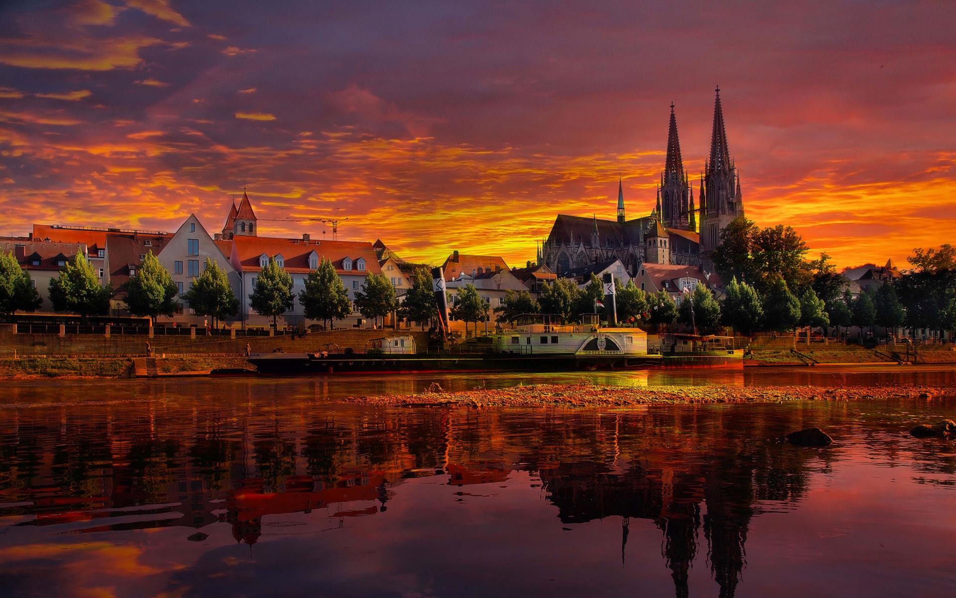 Картинки Регенсбург, германия, закат, городской пейзаж фото и обои на рабочий стол