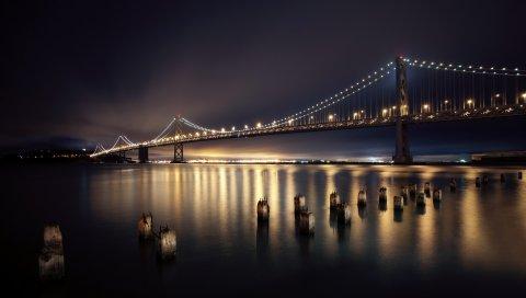 Сан-Франциско, ночь, мост, город, огни, река