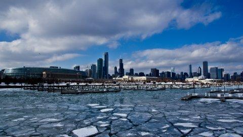Чикаго, США, Иллинойс, Америка, Здния, небоскребы, лед, порт, зима, здание