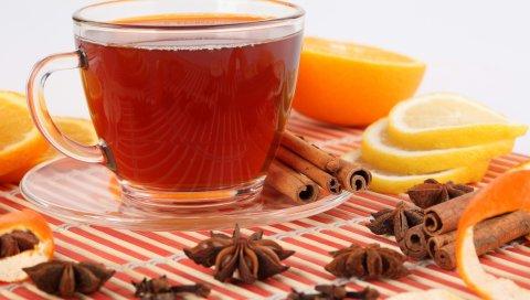 Чай, фрукты, белый фон, чашка