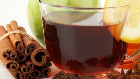 Чай, фрукты, на белом фоне, корицы, чашки, макро