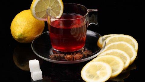 Чай, лимон, черный фон, сахар