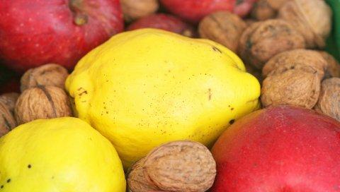 Фрукты, орехи, яблоки