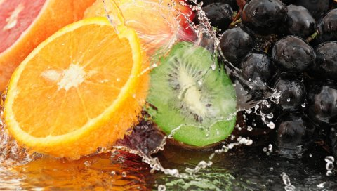Фрукты, виноград, вода, спрей, разрез