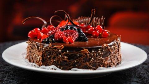 Торт, тарелка, шоколад, ягоды, малина, голубика, смородина, вкусный, десерт