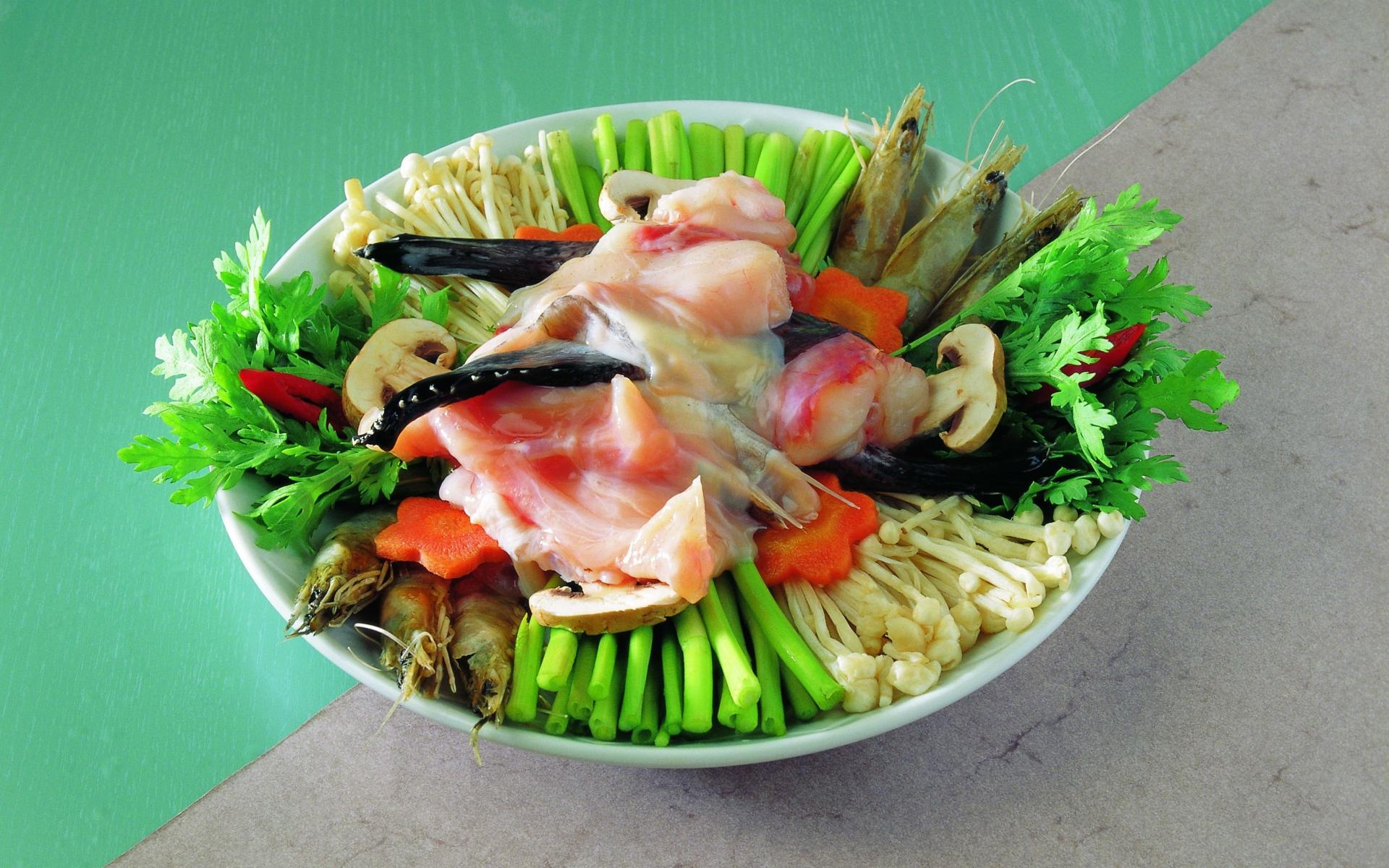 Картинки Блюдо, грибы, овощи, морепродукты фото и обои на рабочий стол
