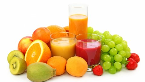 сок, чашки, фрукты, ягоды, кучи, белый, три