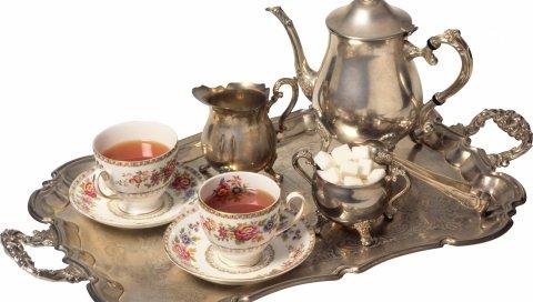 посуда, чай, поднос, серебро, чашки, сахар, чайные листья, белый фон, старые
