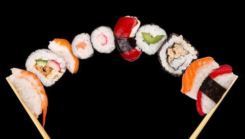палочка , морепродукты, суши, роллы