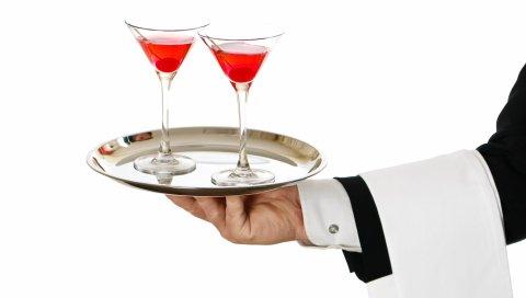 официант, рука, поднос, коктейль, белый фон