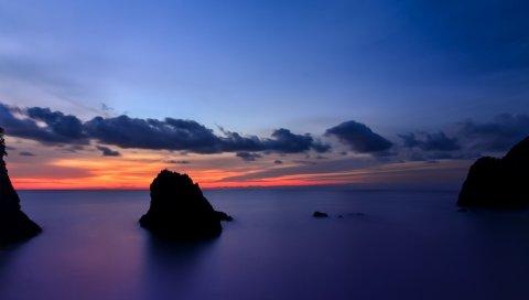 Япония, префектура Сидзуока, остров, пляж, скалы, океан, спокойный, вечер, оранжевый, закат, синий, небо, облака