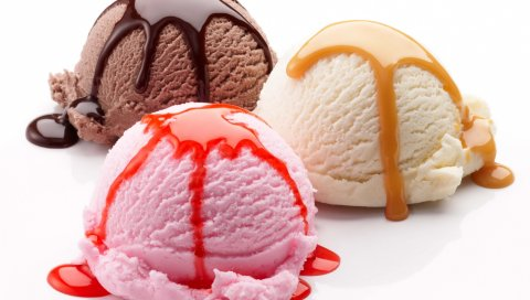 мороженое, воздушные шары, конфеты, варенье, белый фон, три