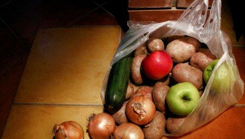 мешок, продукты питания, овощи, фрукты