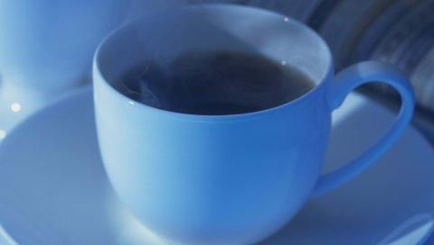 кофе, чашка, голубой, светло -