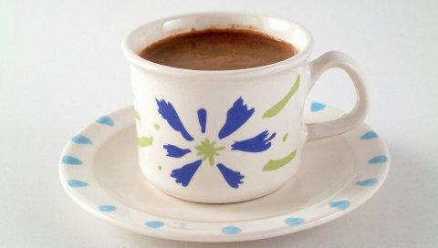 кофе, напиток, чашка, блюдце, белый фон
