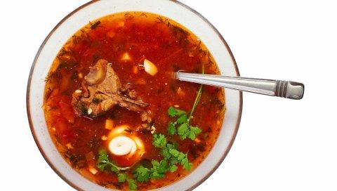 суп, говядина, мясо, сметана, петрушка, плита,белый, ложка