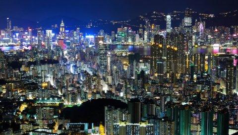 город, вечер, вид сверху
