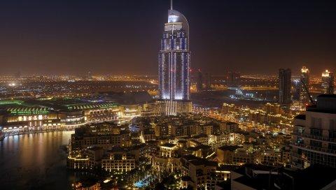 город, Дубай, Объединенные Арабские, эмираты, ночь, дома, гостиницы, вода, пальмы, дороги
