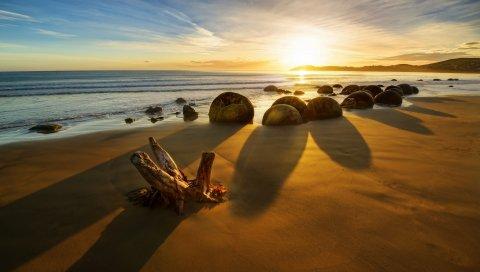 Новая Зеландия, океан, восход солнца, скалы, береговая линия