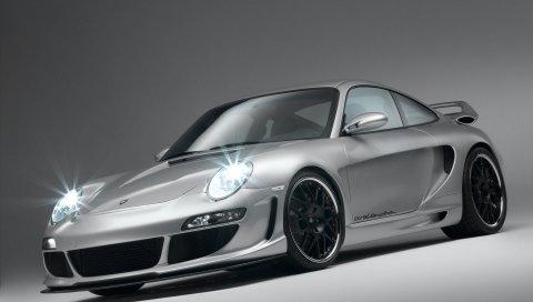 Porsche, автомобиль, поездка, серебро, спортивный
