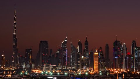 Дубай, Объединенные арабские эмираты, ночь, дом, высотные