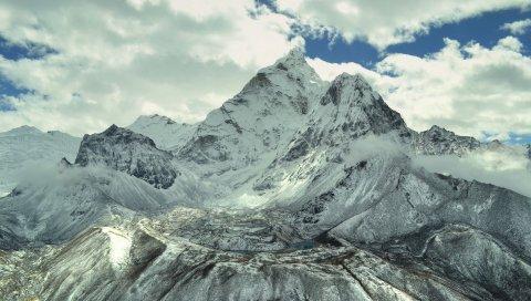 Горы, небо, свет, вершины, снег