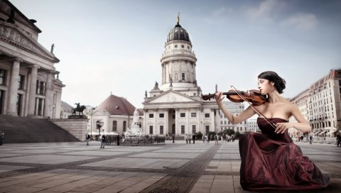 Скрипач, город, площадь, музыка, скрипка