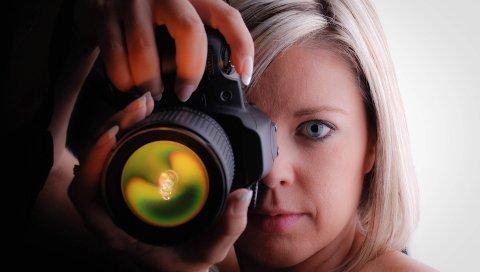 Девушка, фотограф, камера, голубые глаза, блондинка